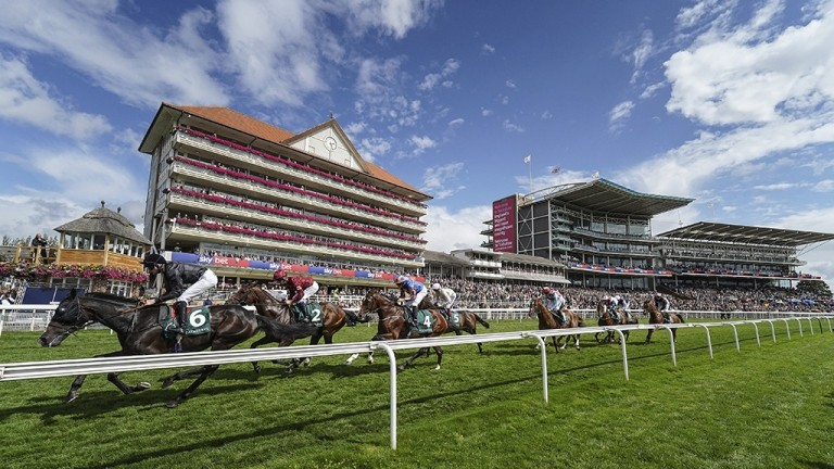 York runners pass the stands on a glorious afternoon for the third day of the Ebor meeting