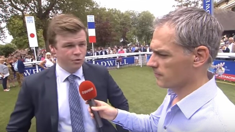 Gavin Hernon is interviewed after his maiden winner as a trainer at Deauville