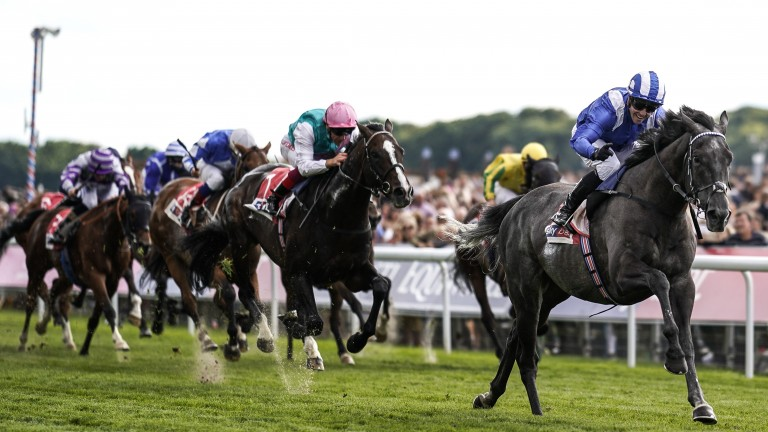 Muntahaa clears away from his rivals to win the Sky Bet Ebor
