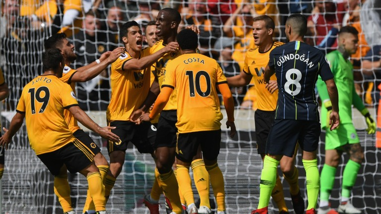 Wolves defender Willy Boly scores against Manchester City