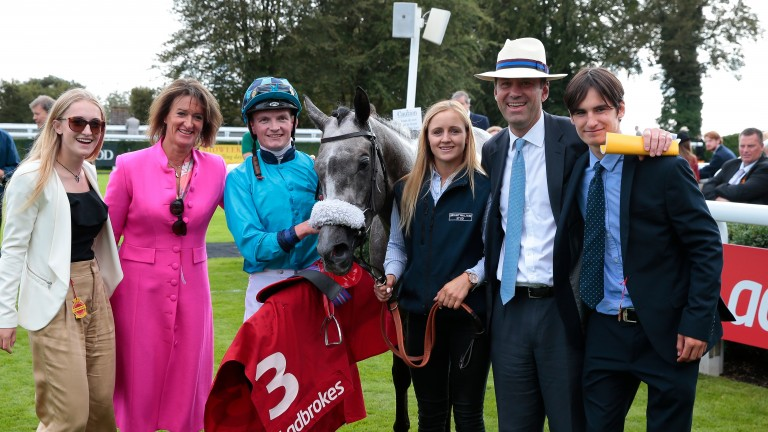 Jeffrey Hobby (second right) and wife Phoebe (second left) with Maid Up in the Goodwood winner's enclosure after the Group 3 March Stakes