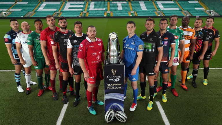 The Pro14 contenders line up with the trophy at Glasgow's Celtic Park, venue for this season's final