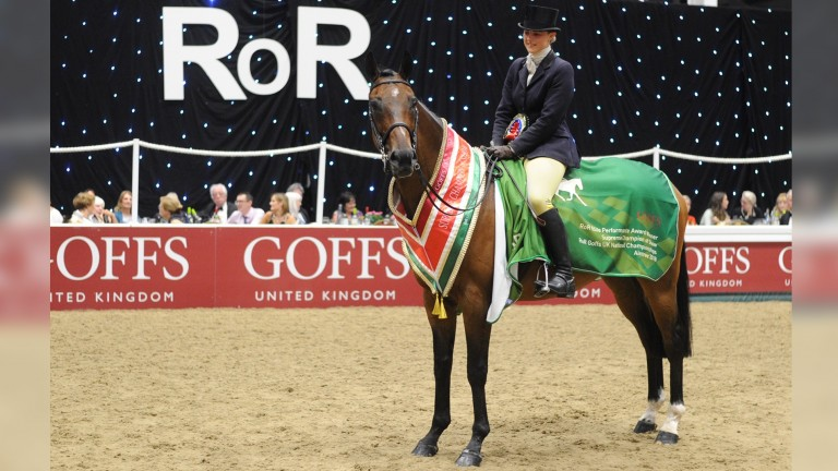 What Of It and Hannah Horton at the RoR Goffs UK National Showing Championships at Aintree