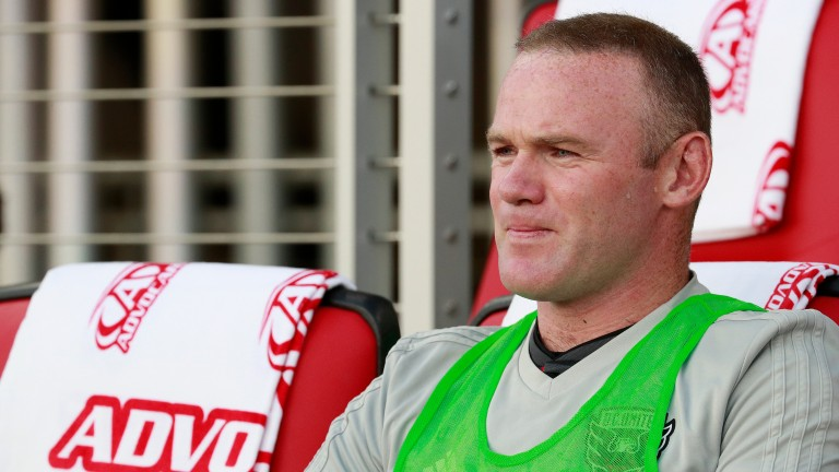Wayne Rooney looks on pensively before a DC United match