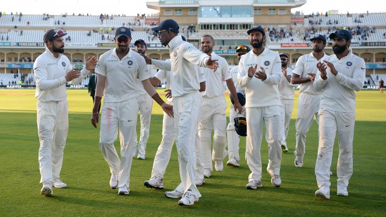 Jasprit Bumrah (second left) takes the plaudits after his five-wicket haul at Trent Bridge