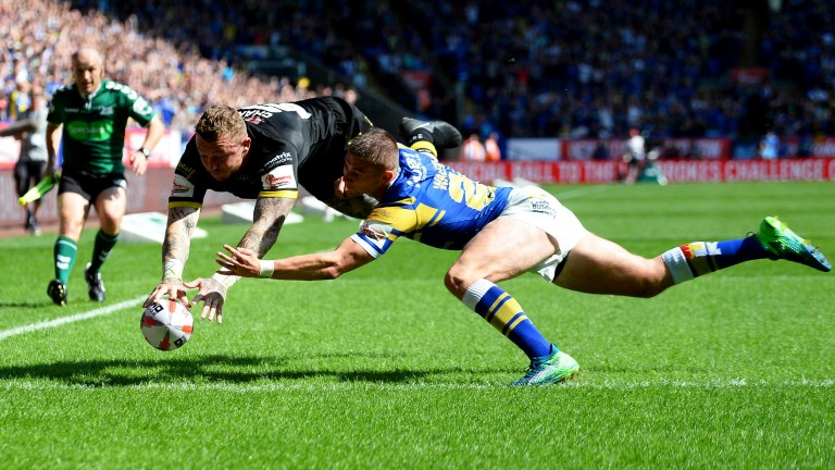 Warrington's Josh Charnley scores a try