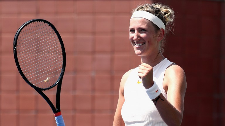 Victoria Azarenka celebrates her easy win over Daria Gavrilova