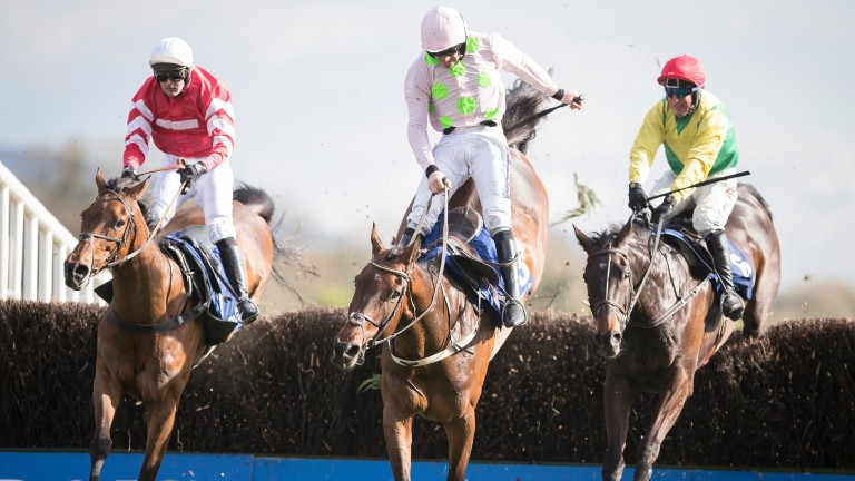 Coneygree (left) played his part in an memorable renewal of the Punchestown Gold Cup in 2017