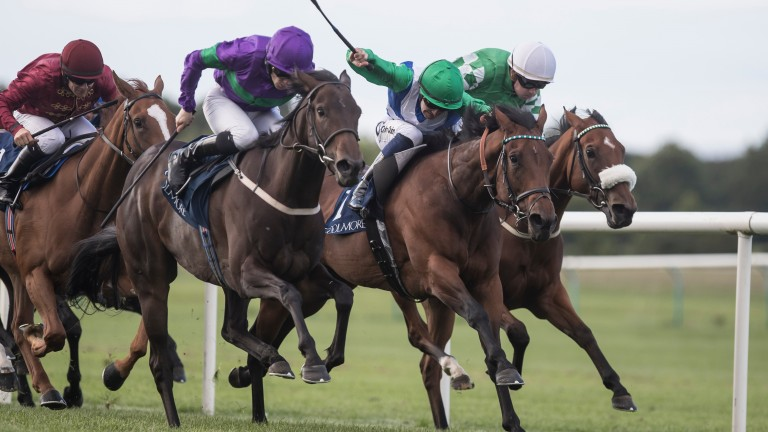 One Master (green cap) lands the Group 3 Coolmore Fairy Bridge Stakes under Colm O'Donoghue