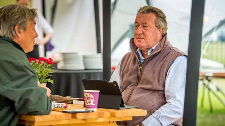 Watership Down Stud's Simon Marsh and Weatherbys' Nick Cheyne take a coffee break