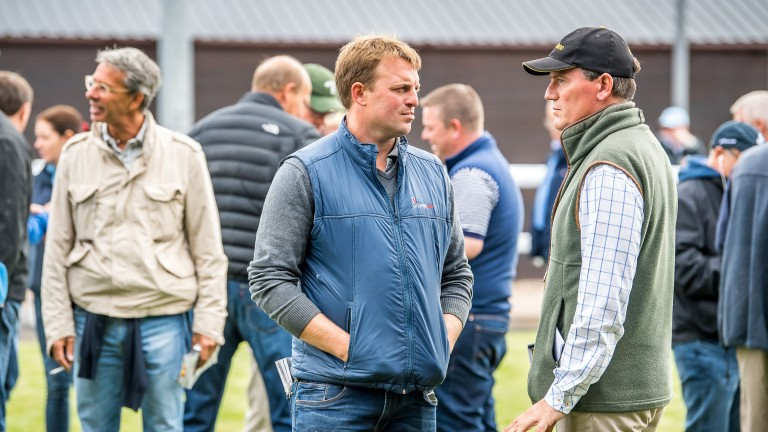 Roger O'Callaghan of Tally-Ho Stud (centre) and Julian Dollar of Newsells Park Stud (right) in conversation