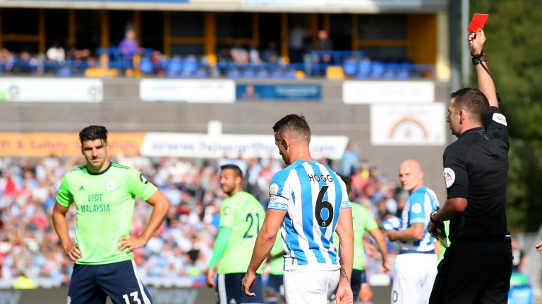 Jonathan Hogg Huddersfield Town is shown a red card against Cardiff City