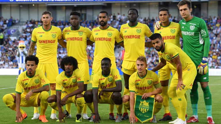 Nantes players pose for a team photo