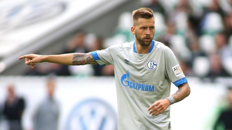 Guido Burgstaller of Schalke in action against Wolfsburg