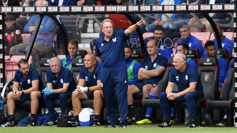 Cardiff boss Neil Warnock shouts instructions