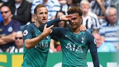 Dele Alli of Tottenham celebrates with Harry Kane