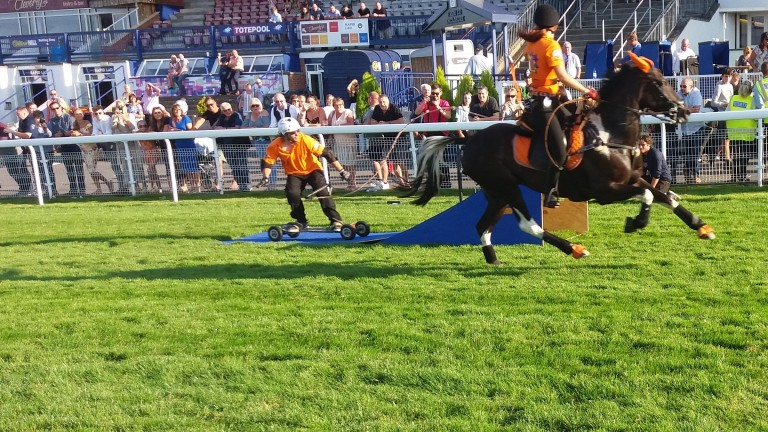 A horseboarder attempts to break the long jump record