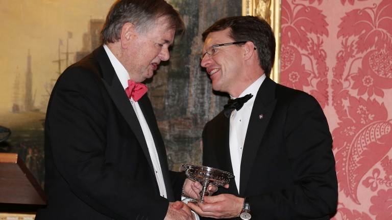 Neville O'Byrne (left) makes a presentation to Aidan O'Brien at the 2015 Moyglare Dinner at The K Club