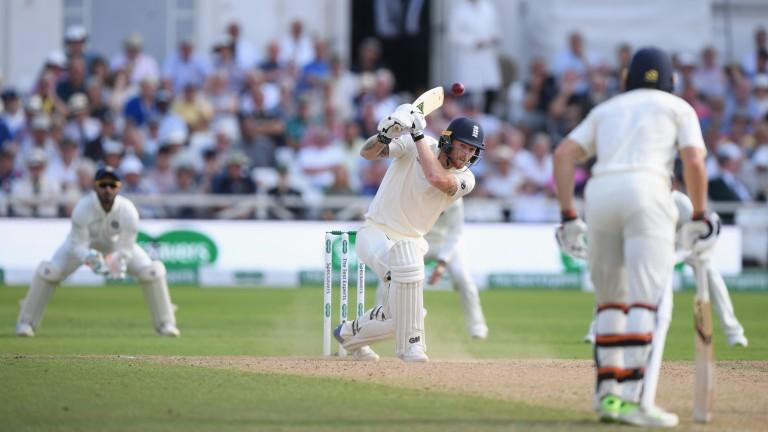 England batsman Ben Stokes drives for runs off India bowler Bumrah