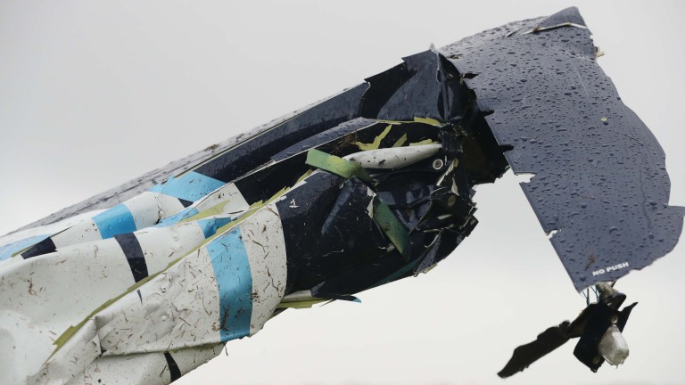 The wing of the stationary plane following the collision on the Haydock landing strip