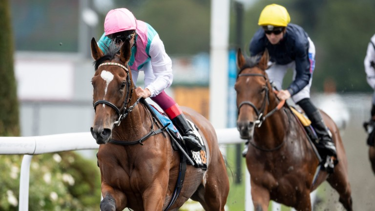 Enable and Frankie Dettori (left) head for victory over Crystal Ocean (David Probert)