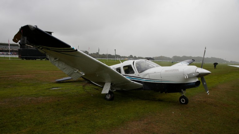 The stationary and empty plane involved in the collision at Haydock before racing on Sprint Cup day