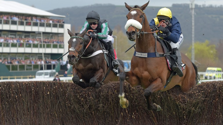 Charbel and David Bass (right) still leading Altior in the 2017 Arkle at the Cheltenham Festival