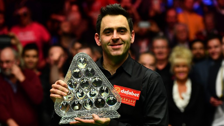 Seven-times Masters winner Ronnie O'Sullivan with the Paul Hunter Trophy