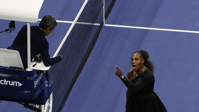 Serena Williams argues with umpire Carlos Ramos during the US Open final