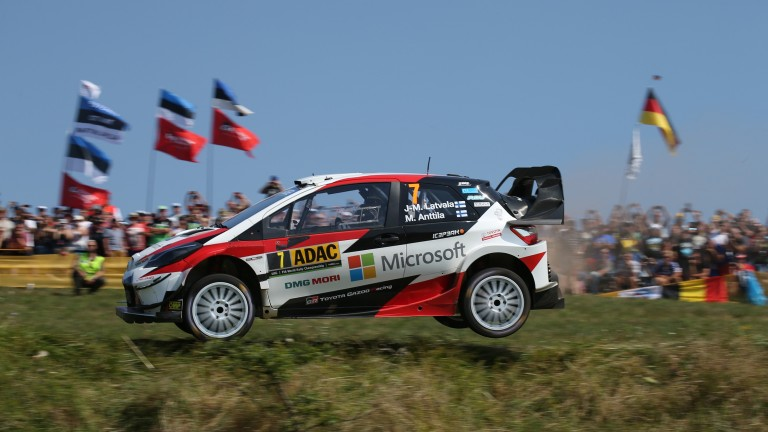 Jari-Matti Latvala catches some air in Germany