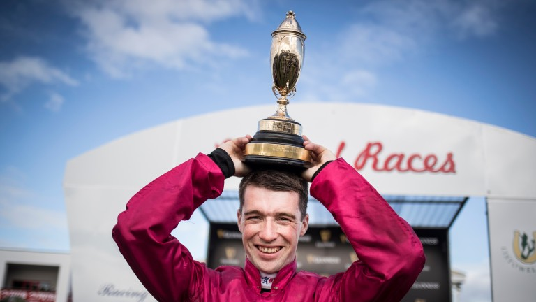 Jonathan Moore celebrates after Snow Falcon's narrow success
