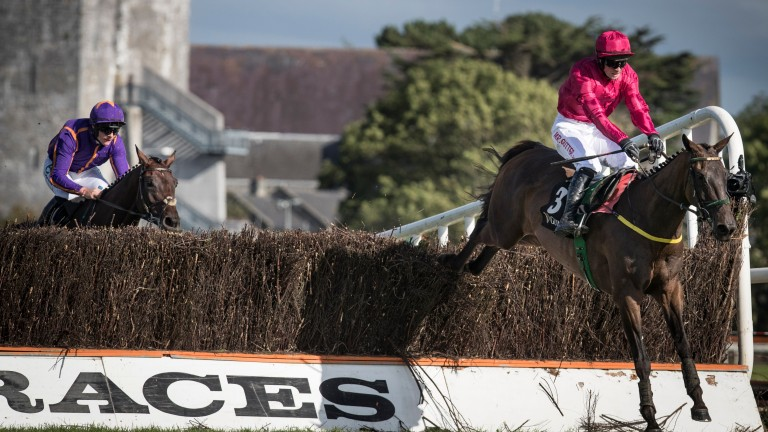 Snow Falcon clears the last fence in the Kerry National en route to victory