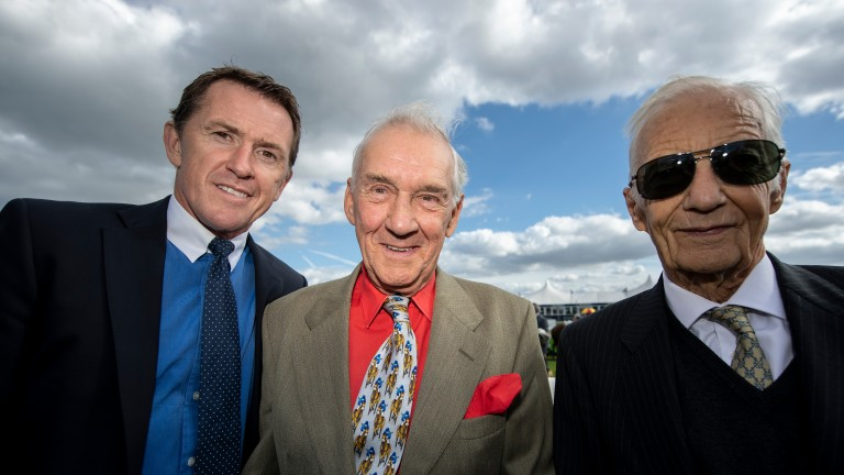 All smiles: Sir Anthony McCoy, Jack Berry and Lester Piggott enjoy their day