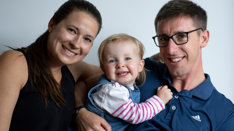 George Baker, wife Nicola and daughter Isabella happy at home in Newbury