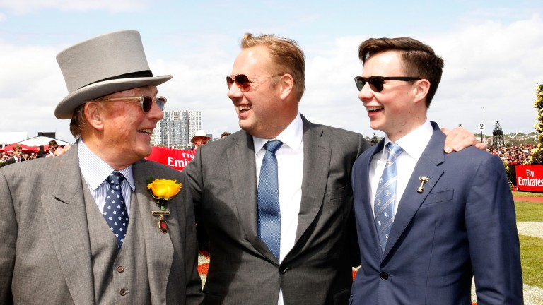 Nick Williams (centre) with father Lloyd (left) and Rekindling's trainer Joseph O'Brien