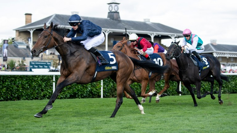 Dominant display: Aidan O'Brien's Fleeting runs out a convincing winner of the Group 2 William Hill May Hill Stakes under the trainer's son Donnacha