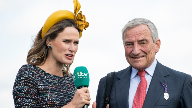 Family footage: Francesca Cumani interviews her father Luca after the Newmarket trainer lands the Group 2 DFS Park Hill