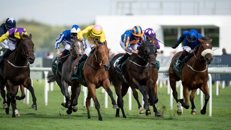 Big payday: The Great Heir (right) wins the Weatherbys Racing Bank £300,000 2-Y-O Stakes for trainer Kevin Ryan, jockey Andrew Mullen and o