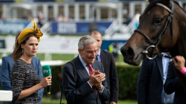 Francesca and Luca Cumani watch God Given being led in after the Park Hill StakesDoncaster 13.9.18 Pic: Edward Whitaker