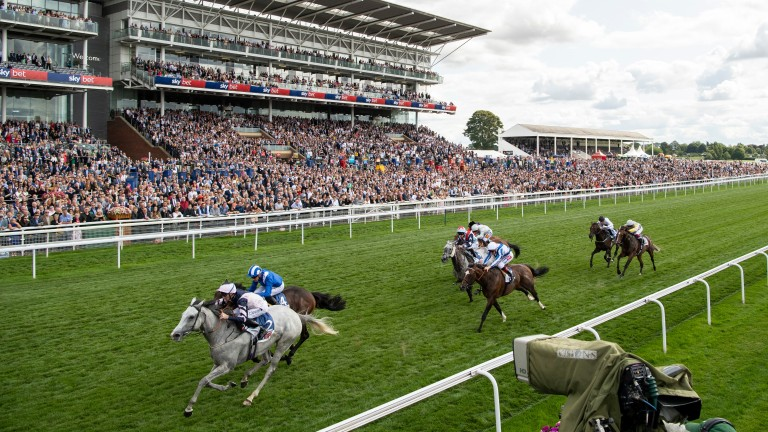 Lord Glitters lands the Strensall Stakes at York last month