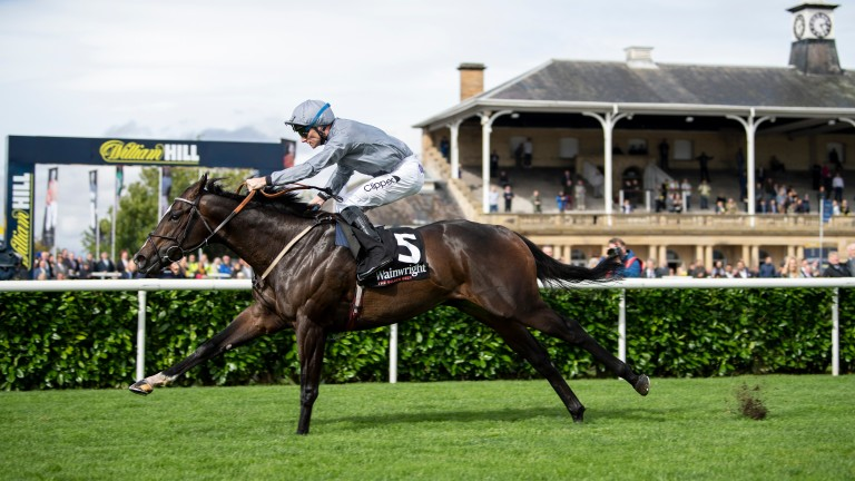 Soldier's Call and Danny Tudhope run out impressive winners of the Flying Childers Stakes