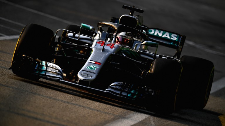 Lewis Hamilton in action during practice