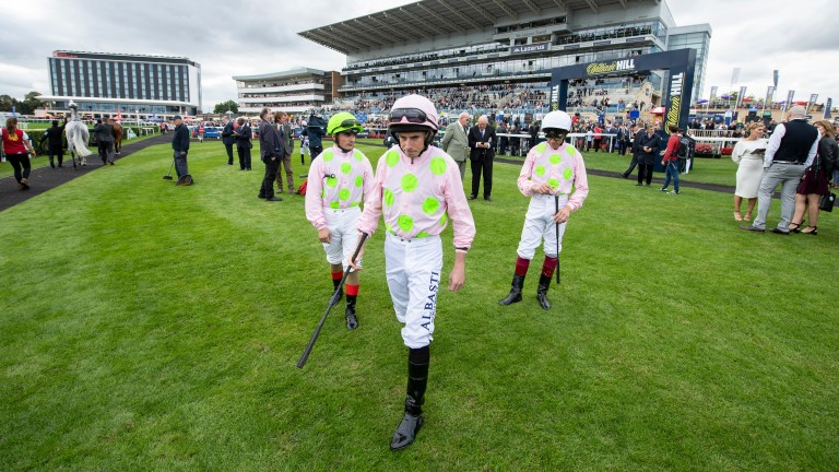 Three of a kind: Andrea Atzeni, Ryan Moore and Frankie Dettori before the Doncaster Cup