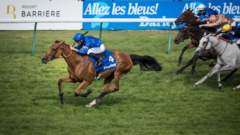 Kitesurf (blue silks) had recent Doncaster winner God Given (bronze silks) back in third when winning the Prix de Pomone at Deauville last month