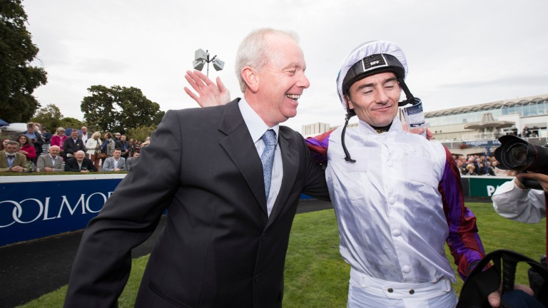 Karl Burke and Danny Tudhope celebrate Laurens' victory in the Matron Stakes at Leopardstown