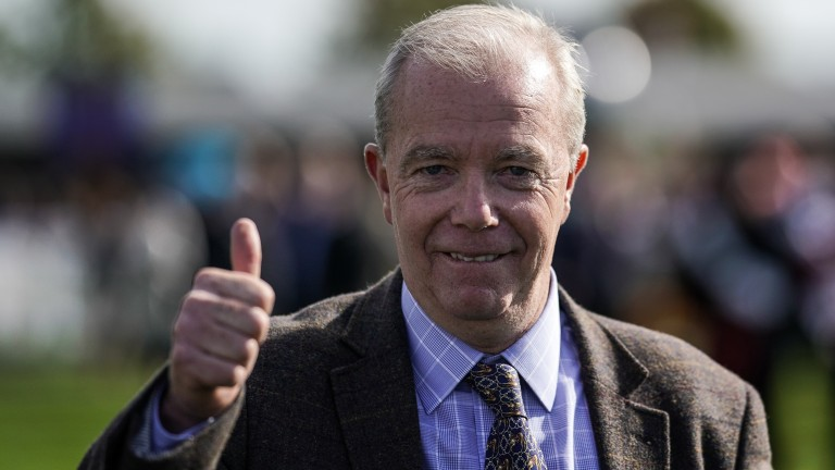 Job done: A delighted Karl Burke after Havana Grey won the Group 1 Flying Five Stakes at the Curragh