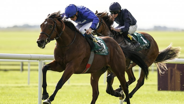 Quorto (left) defeating Anthony Van Dyck (right) in the Group 1 National Stakes at the Curragh