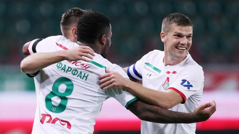 Lokomotiv Moscow's Jefferson Farfan and Igor Denisov