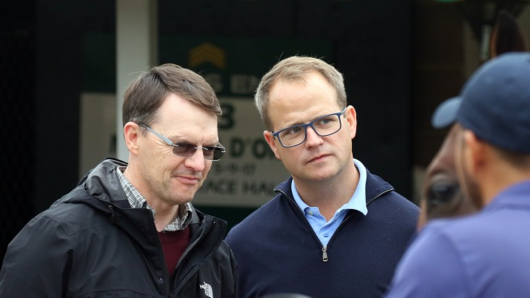 Master trainer Aidan O'Brien and Coolmore's MV Magnier deep in conversation