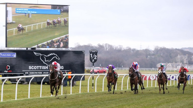 Book Of Dreams wins the totesport.com Royal Mile Handicap at Musselburgh by six lengths